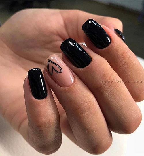 Glossy Black Acrylic Nails