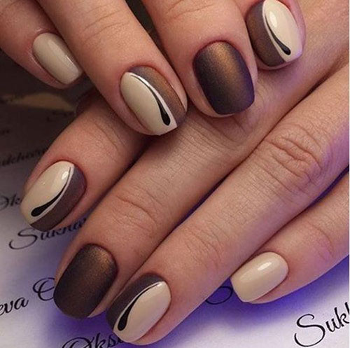 Brown Stripe Down Nail