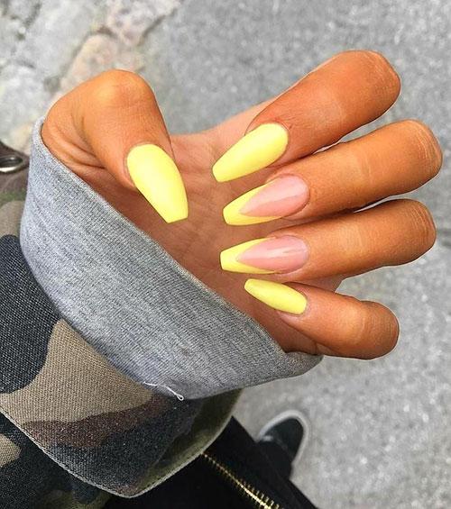 Mustard Yellow Acrylic Nails