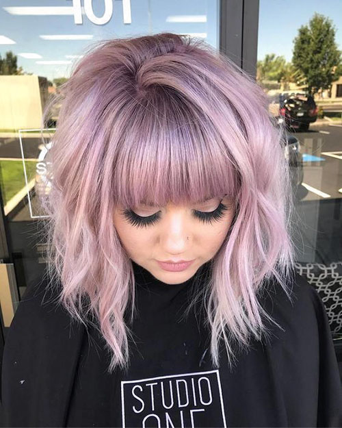 Dramatic A Line Bob With Bangs