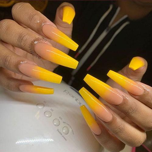 Yellow Sunflower Acrylic Nails