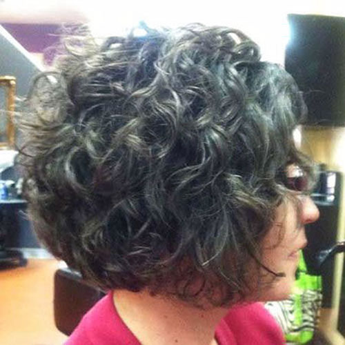 Curly Stacked Bob Haircut Pictures