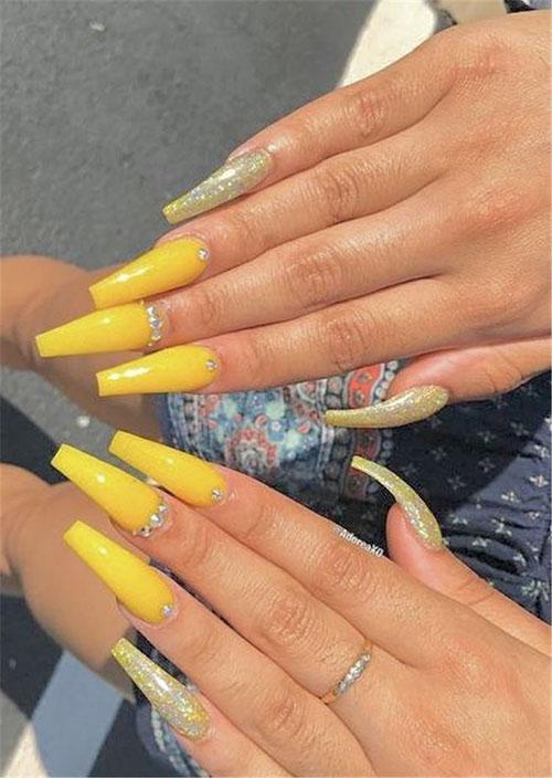 Yellow Sunflower Nails