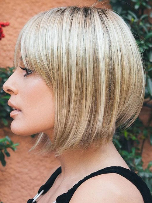 A Line Bob Haircut With Bangs