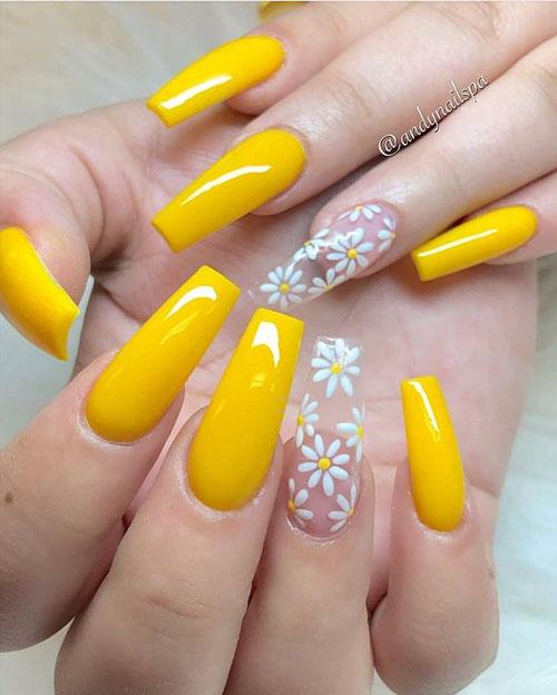 Sunflower Yellow Acrylic Nails